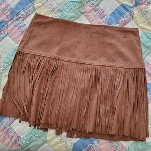 American Rag Faux Suede Fringe Skirt